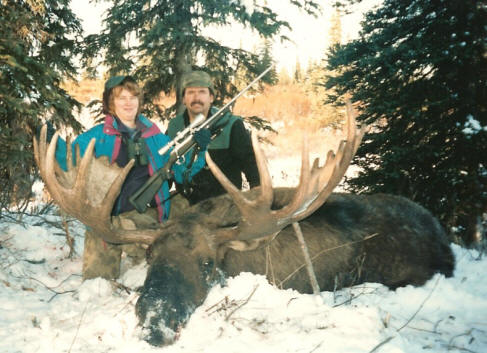 Wayne & Marilyn Kubat with her first Alaska moose