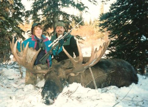 Wayne & Marilyn Kubat with her first Alaska moose