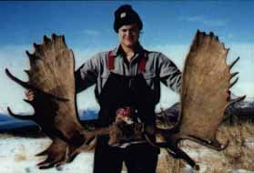 Moose hunter with a nice rack - Alaska Remote Guide Service.